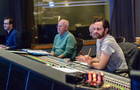 Music editor Matthew Llewellyn, orchestrator Brad Warnaar, supervising music editor Joe Lisanti, and scoring mixer Greg Hayes