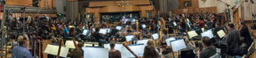 Composer John Powell conducts the orchestra as they record his score for <i>Ferdinand</i>