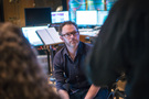 Composer Gordy Haab discusses a cue with his team