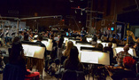 Composer/conductor Nathan Wang records a cue with the Hollywood Studio Symphony