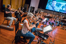 The orchestra records a cue for <i>Kevin (Probably) Saves the World</i>