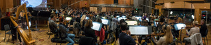 Composer/conductor Bruce Broughton records his theme music for <i>The Orville</i> with the orchestra