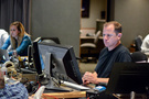 Assistant music editor Allegra De Souza and ProTools recordist Kevin Globerman
