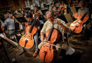 Cellist Steve Erdody warms up