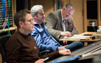 Engineer Jake Jackson (left), Composer Stephen Baysted (centre), Orchestrator Simon Whiteside (right)