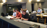 Orchestrator Jeremy Levy, composer Matthew Margeson, and scoring mixer Alan Meyerson enjoy a cue