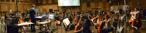 Conductor/orchestrator Tim Davies and the Hollywood Studio Symphony stand by to record