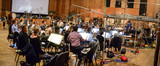 Conductor Pete Anthony and the Hollywood Studio Symphony perform a cue for <i>Snatched</i>