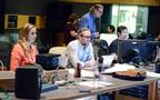 Assistant music editor Allegra de Souza, music editor Jim Schultz, and ProTools recordist Larry Mah