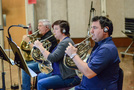 The French horns: Dave Everson, Laura Brenes, and Dylan Hart