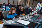 Orchestrator Amie Doherty, studio assistant Caleb Hsu, and scoring mixer Michael Perfitt