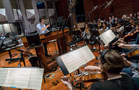 Composer/conductor Jeff Russo cues the strings