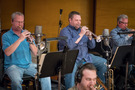 The trumpet section: Jon Lewis, Rob Schaer, and David Washburn