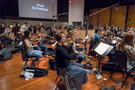 The orchestra records the Alexander Courage theme for the end credits