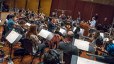 Composer/conductor Jeff Russo and the orchestra