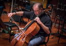 Cellist Steve Erdody records an overdub