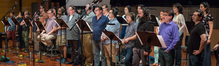 The choir records a cue for composer Steve Jablonsky's score to <i>Transformers: The Last Knight</i>
