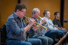 Trumpet players Wayne Bergeron and Jon Lewis perform