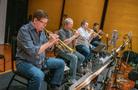 Wayne Bergeron, Jon Lewis, Rob Schaer, and Barry Perkins perform on trumpet