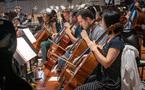 The cello section performs on <em>Aquaman</em>