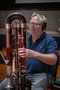 Bassoonist Kenneth Munday performs on contrabassoon