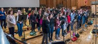 The choir records a cue for <em>Deadpool 2</em>