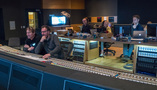 Composer Tyler Bates, scoring mixer Gustavo Borner, music editor Ted Caplan, assistant engineer Anna Muehlichen, and mixer/engineer Nick Baxter
