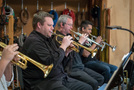 Trumpet players Rob Schaer, Jon Lewis, and Barry Perkins