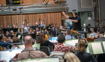 Conductor/orchestrator Tim Williams records a cue with the Hollywood Studio Symphony