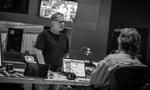 Composer Danny Elfman confers with music editor Bill Abbott