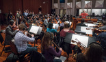 The basses, cellos and violas on <em>Game Night</em>, conducted by orchestrator Randy Miller