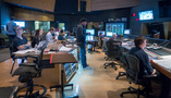 Inside the booth at the Newman Scoring Stage during the recording of <em>Maze Runner: The Death Cure</em>
