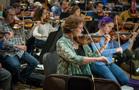 Concertmaster Belinda Broughton and the violins