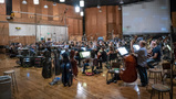 Conductor Gavin Greenaway and the Hollywood Studio Symphony record a cue for <i>The Predator</i>