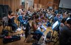 The violin section records a cue on <em>The Predator</em>