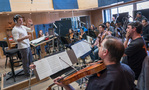 The view from the viola section as the strings record <em>A Quiet Place</em>