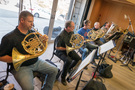 Mike McCoy, Teag Reaves, Steve Becknell and Dave Everson on French horn; Gary Hickman on tuba