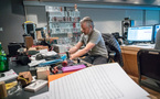 Score producer Buck Sanders makes some electro-acoustic design adjustments
