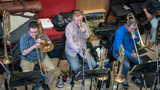 Craig Gosnell, Phil Keen and Alan Kaplan on trombones