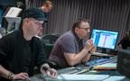 Composer Andrew Lockington and scoring mixer Andrew Dudman listen to the mix