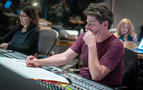 Composer Germaine Franco, recording engineer Dave Boucher, and score coordinator Charlene Huang (rear)