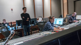 Composer Ramin Djawadi listens to playback with recording mixer Tom Hardisty