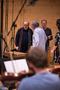 Composer Pino Donaggio inspecting the score preparations at Galaxy Studios