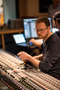 Recording engineer Patrick Lemmens working behind the Neve 88D desk at Galaxy Studios
