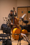 Double bass player tuning