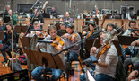 The viola section performing on <i>The Lego Movie 2</i>