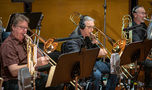 Trombonists Steve Holtman and Bill Reichenbach perform with Doug Tornquist on tuba