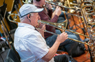 A trombonist performs