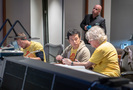 Composer Mark Mothersbaugh (right) works on a cue with additional music composers Wataru Hokoyama and Peter Seibert