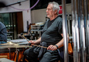 Steve Schaeffer performs on suspended cymbal